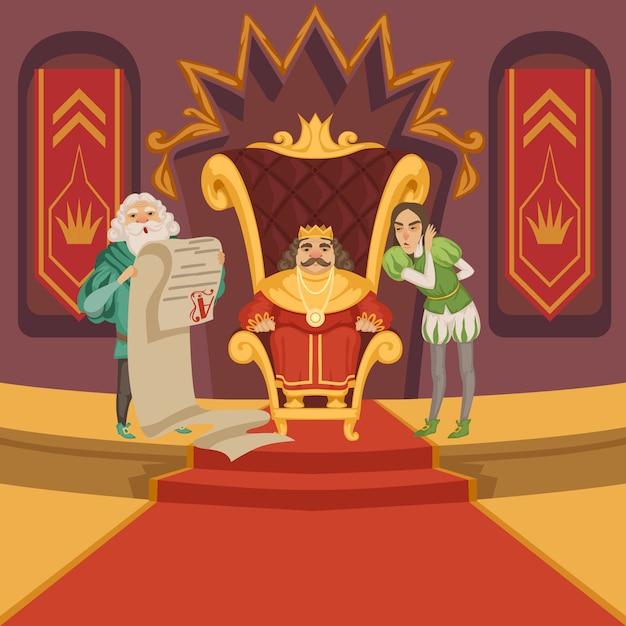 Koning op de troon en zijn gevolg. cartoon tekens instellen Premium Vector