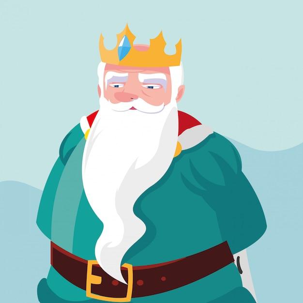 Koning sprookjesachtige magische avatar karakter Premium Vector