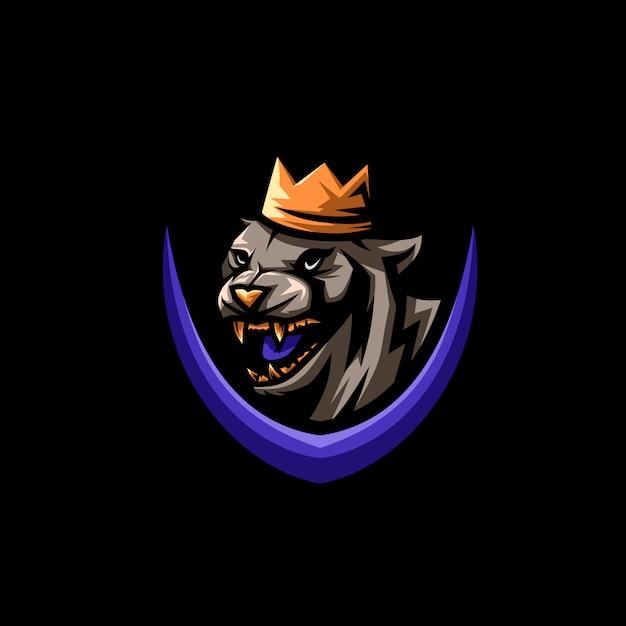 Koning tijger logo illustratie Premium Vector