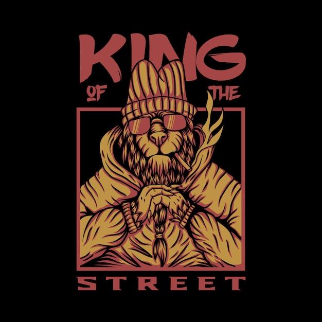 Koning van de straat leeuw vector ontwerp Premium Vector