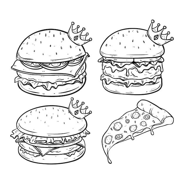 Koning van hamburger met kroon en gesmolten kaas met de hand getekende stijl Premium Vector