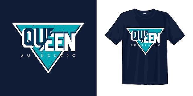 Koningin authentiek t-shirtontwerp Premium Vector