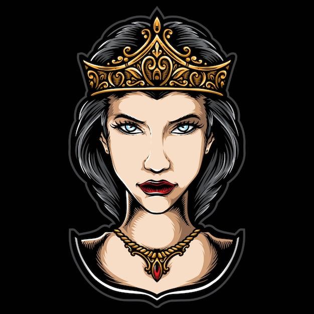 Koningin met kroon Premium Vector
