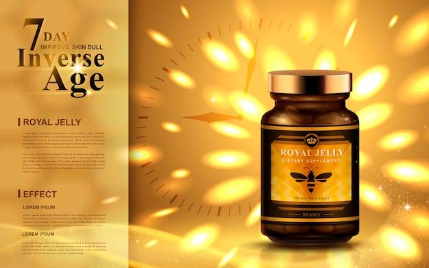 Koninginnengelei-advertentie met felle gouden lichten, klokachtergrond Premium Vector