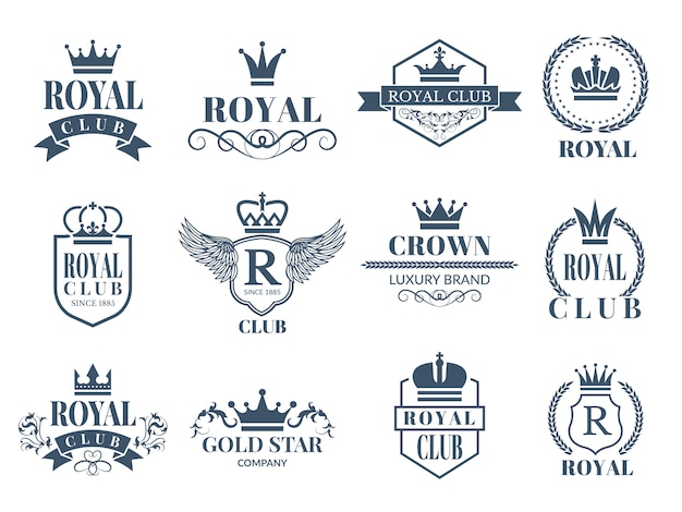 Koninklijke en luxe badges ingesteld Premium Vector
