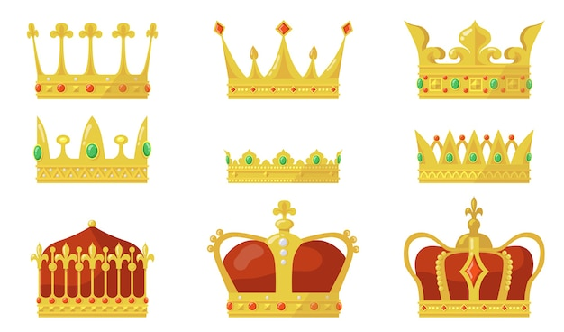 Koninklijke kroon set. koning of koningin autoriteitssymbool, gouden juweel voor prins en prinses. Gratis Vector