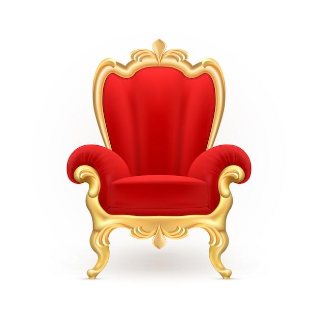 Koninklijke troon, luxueuze rode stoel met gesneden gouden benen die op achtergrond worden geïsoleerd. Gratis Vector