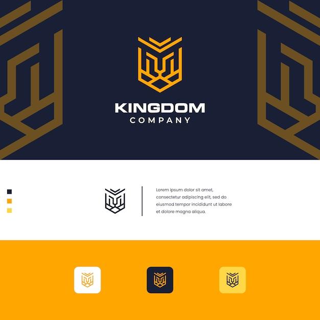Koninkrijk leeuw ontwerp logo eenvoudige monogram stijl Premium Vector