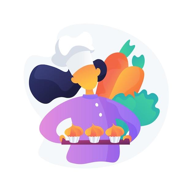 Kook in hoed met heerlijke desserts. traditionele wortelcupcakes, groentemuffins, heerlijke bakkerijproducten. chef stripfiguur. Gratis Vector