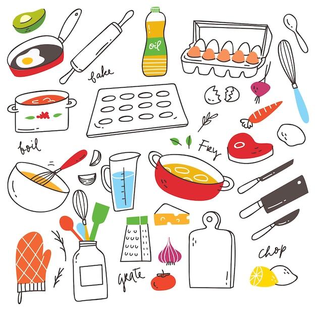 Kookgerei doodle set Premium Vector