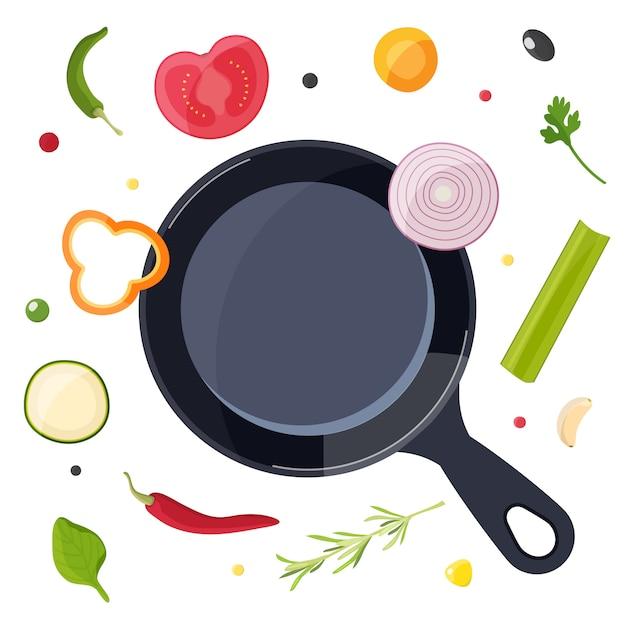 Kookproces met voedselelementen Premium Vector