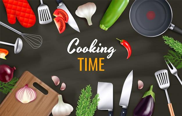 Kooktijd achtergrond met keukengerei en kookgerei realistische objecten Gratis Vector