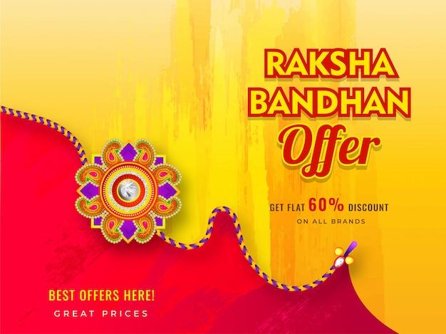Koop banner- of posterontwerp met 60% kortingsaanbieding en prachtige rakhi (armband) voor raksha bandhan-viering. Premium Vector