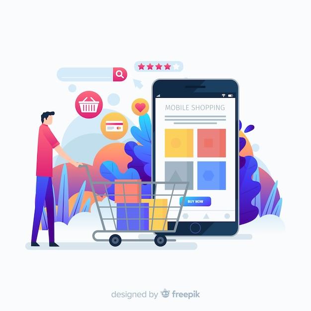 Koop de bestemmingspagina van het app-idee Gratis Vector