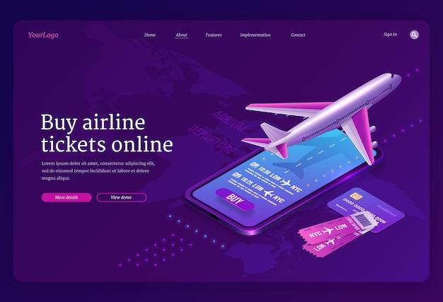 Koop een vliegticket online isometrische bestemmingspagina met vliegtuig op landingsbaan Gratis Vector