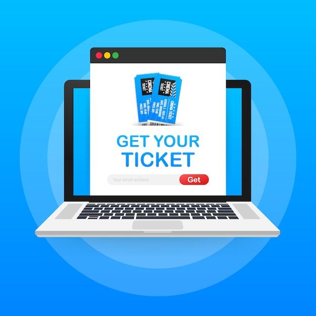 Koop je ticket online. bioscoop film ticket online bestelling concept. Premium Vector