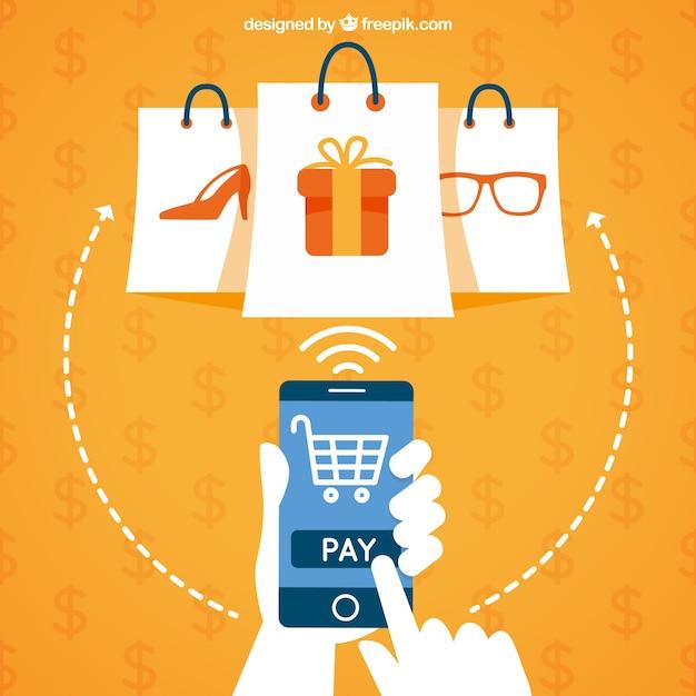 Koop met mobiel Gratis Vector