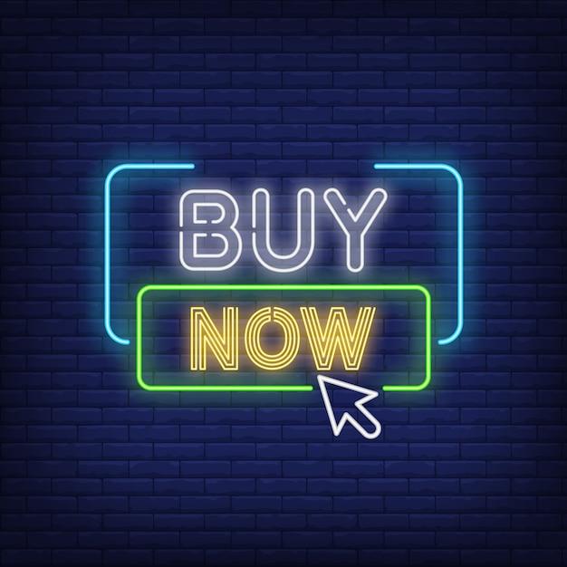 Koop nu het neonbord Gratis Vector