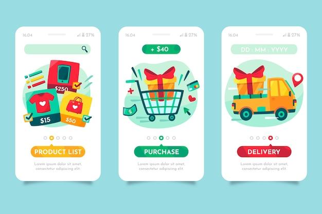 Koop online onboarding app-schermen Gratis Vector