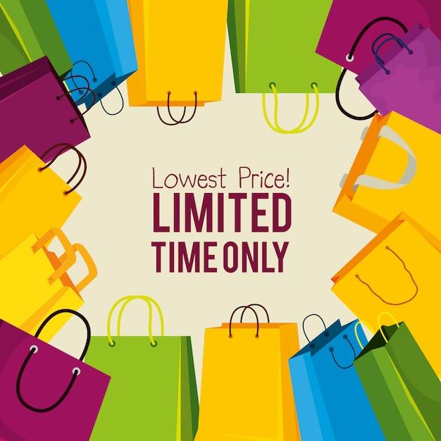Koop tassen voor een speciale online prijs Gratis Vector
