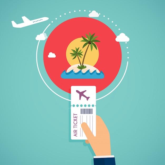 Koop vliegtickets. reizen per vliegtuig, plannen van een zomervakantie, toerisme en reisobjecten en passagiersbagage. Premium Vector