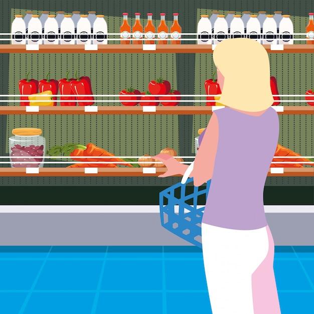 Koper vrouw met winkel houten rekken met groenten Premium Vector