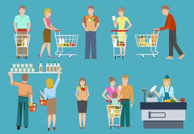 Kopers in de supermarkt set Gratis Vector
