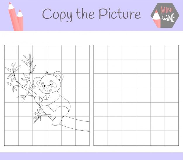 Kopieer de afbeelding: schattige panda Premium Vector