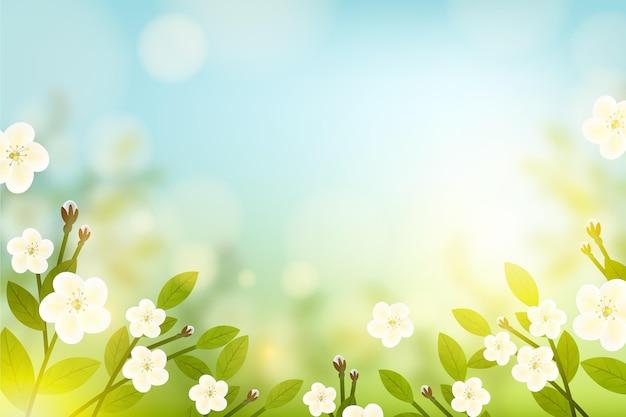 Kopieer de ruimte lente bloemen achtergrond en blauwe hemel Gratis Vector