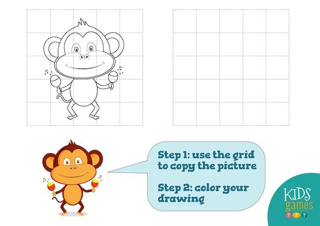 Kopieer en kleur de afbeelding, oefen. grappige cartoon aap voor het tekenen en kleuren van minigame voor kleuters Premium Vector