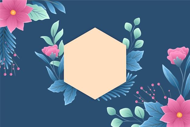 Kopieer ruimte lege badge met bloemen en bladeren Gratis Vector