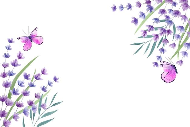 Kopieer ruimte lente achtergrond en violet vlinders Gratis Vector