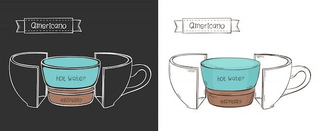 Kopje americano. info grafische beker in een snede Premium Vector
