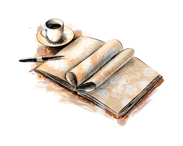 Kopje koffie en een boek met een pen uit een scheutje aquarel, handgetekende schets. illustratie van verven Premium Vector