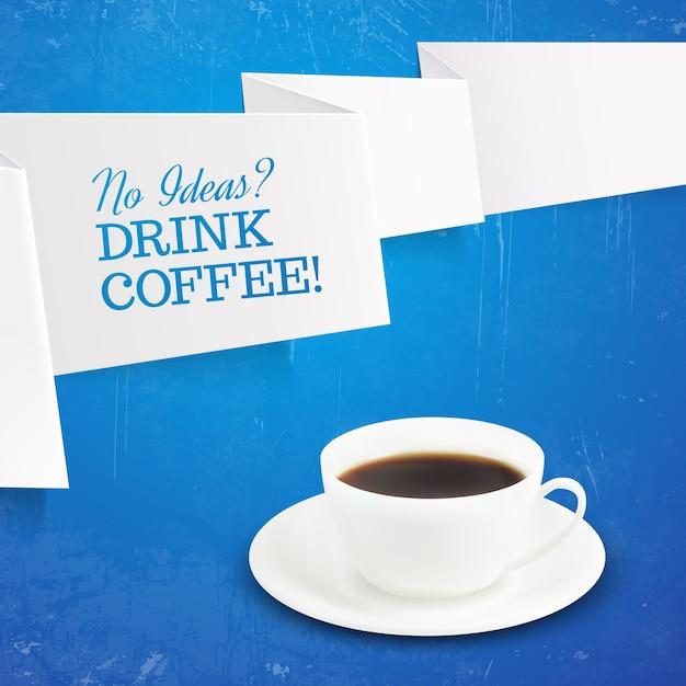 Kopje koffie en teken koffie drinken Gratis Vector