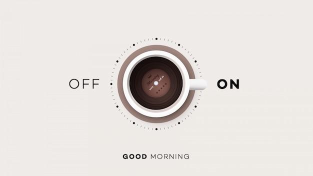 Kopje koffie met aan en uit Premium Vector