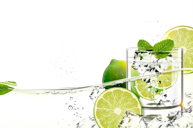 Kopje mijito met limoen en pepermuntjes stroomt in transparante vloeistof Premium Vector