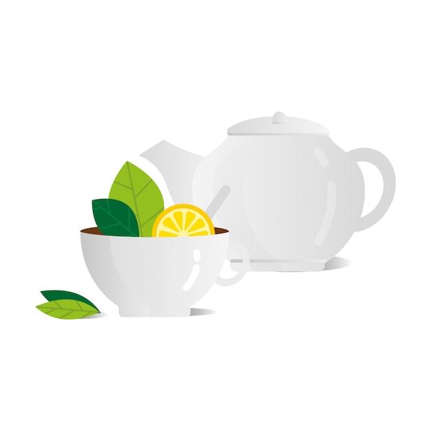Kopje thee met citroen witte theepot vector vlakke afbeelding Premium Vector