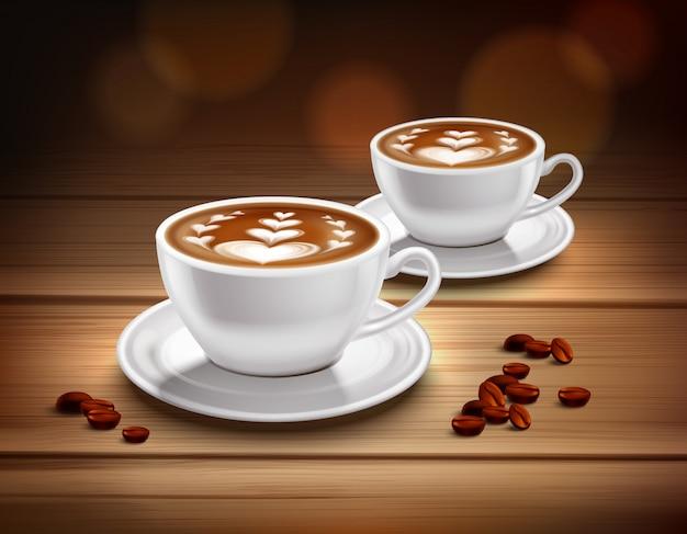 Kopjes cappuccino koffiesamenstelling Gratis Vector