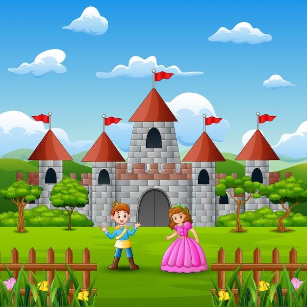 Koppel een prinses en prins voor het kasteel Premium Vector