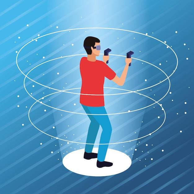 Koppel het spelen met virtuele werkelijkheid Gratis Vector
