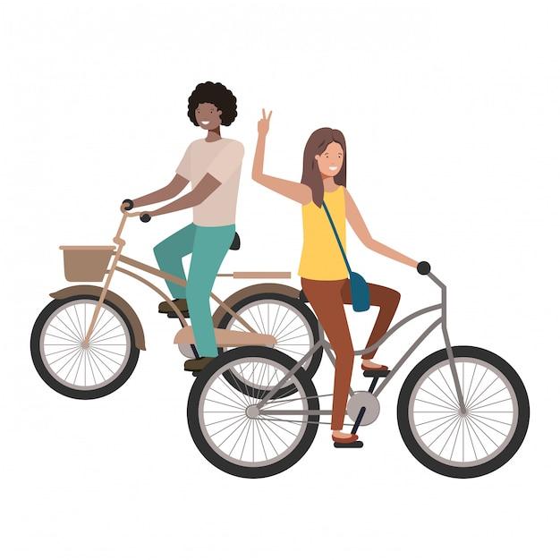 Koppel met fiets avatar karakter Premium Vector