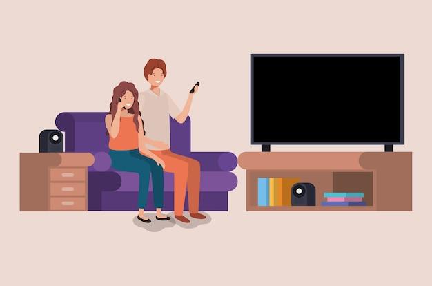 Koppel op de woonkamer avatars tekens Premium Vector