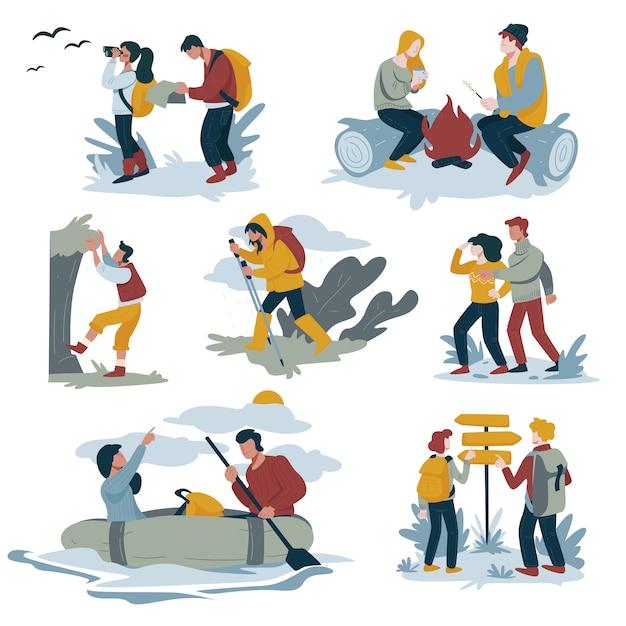 Koppel wandelen en backpacken, kamperen en raften, bergbeklimmen en wandelen Premium Vector