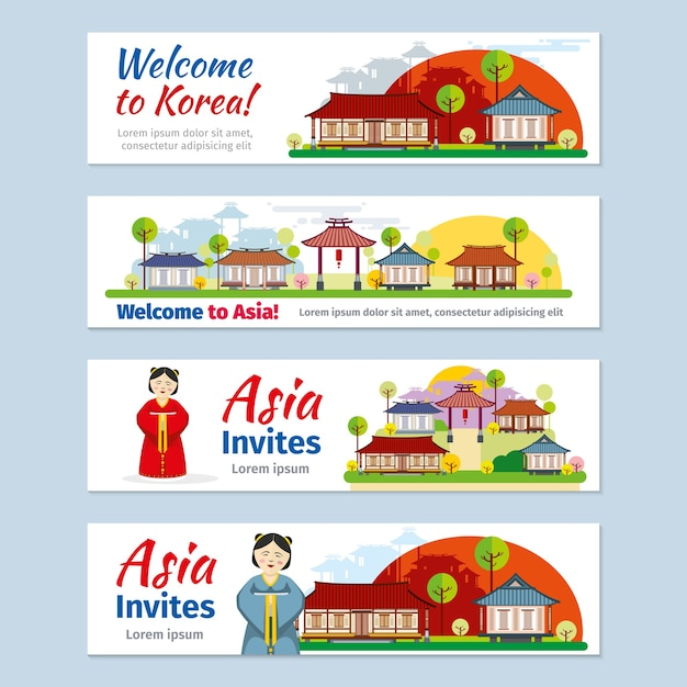 Korea, japan, thailand reizen vector banners sjabloon set. Gratis Vector