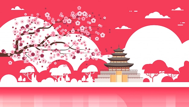 Korea tempel silhouet paleis over sakura bomen zuid-koreaanse beroemde bezienswaardigheid view Premium Vector