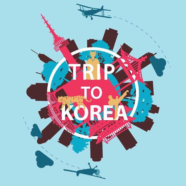Korea top beroemde landmark silhouet stijl Premium Vector