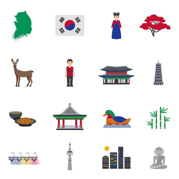 Koreaanse cultuur symbolen platte pictogrammen instellen Gratis Vector