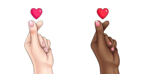 Koreaanse vinger hart vorm symbool illustratie Gratis Vector