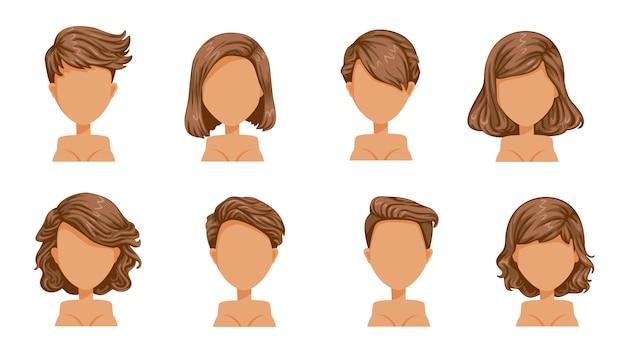 Kort haar vrouw. mooi kapsel bruin haar. marionet moderne mode voor assortiment. kort haar, krullend haar, salonkapsels en trendy kapsel. Premium Vector